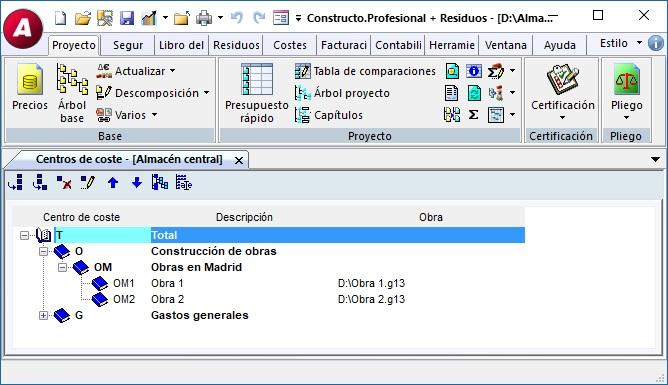 GEST 13.1, Centros de Coste