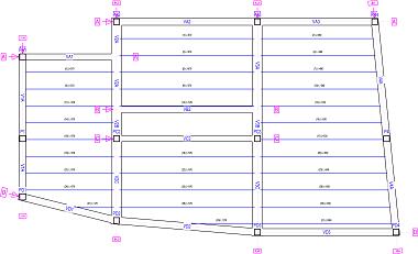 Dibujo de los ejes de pórticos en los planos de croquis.