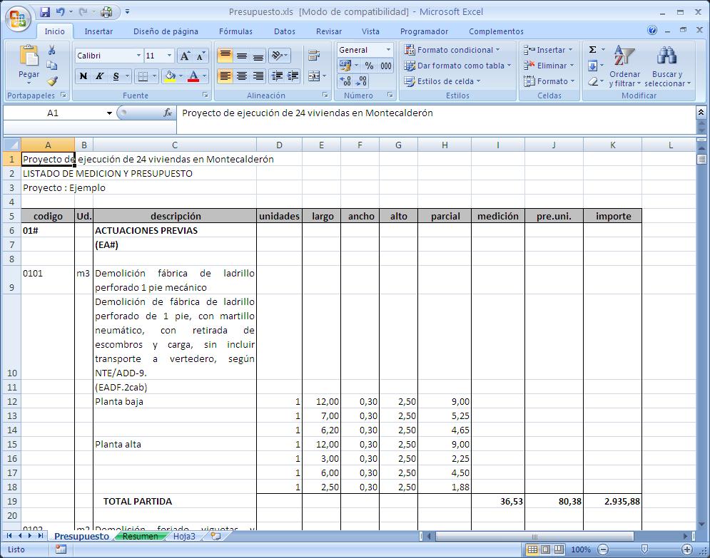 Exportación a Excel de resumen de presupuesto - Ecro!